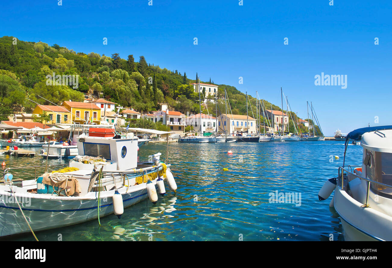 Kioni port at Ithaca Ionian islands Greece - Stock Image