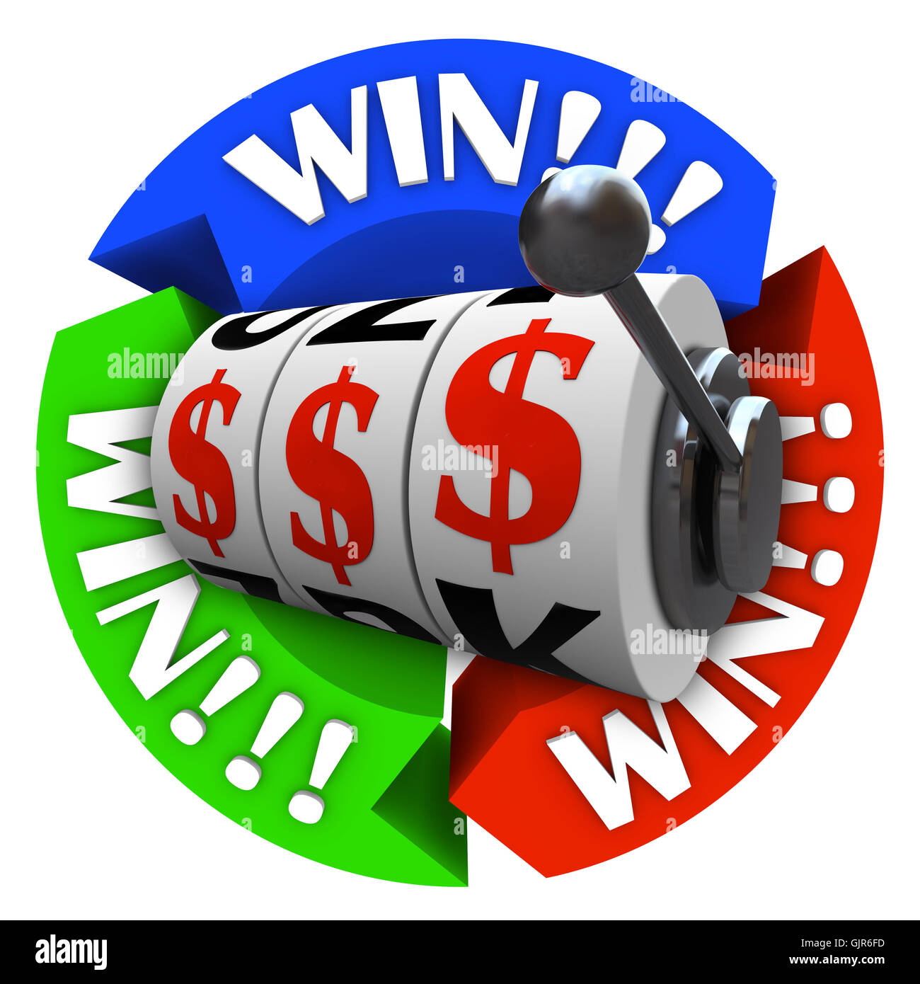 Win Circle with Slot Machine Wheels and Money Signs - Stock Image