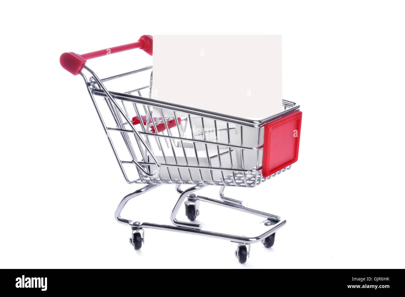shopping supermarket trolley - Stock Image
