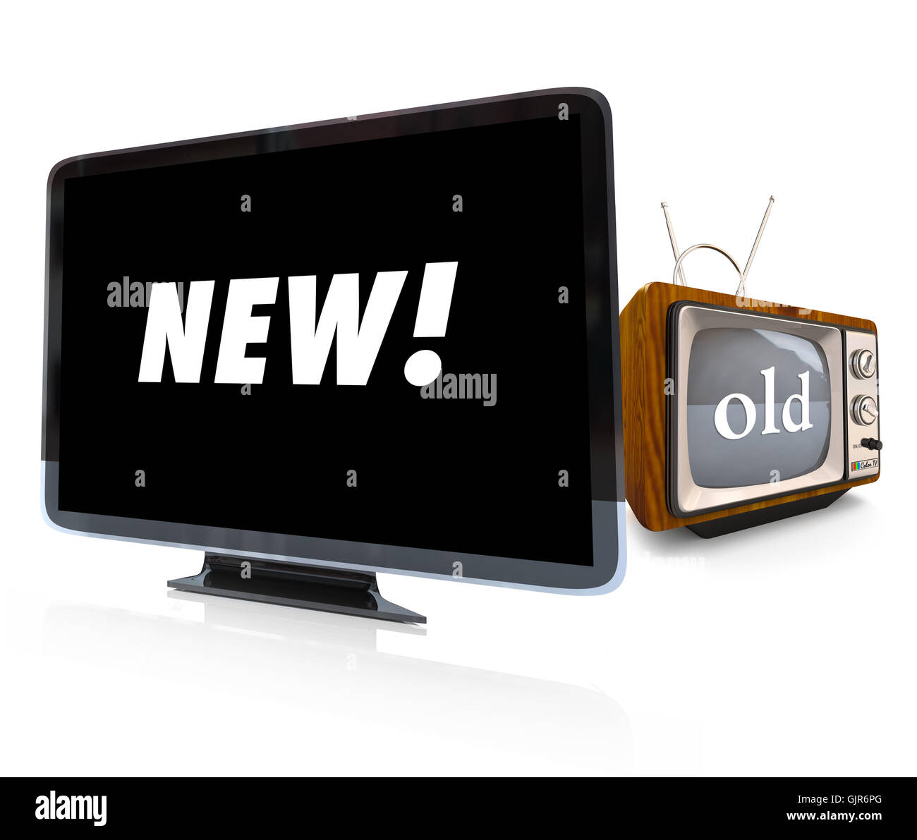 Comparing Old CRT TV vs new HDTV Television - Stock Image