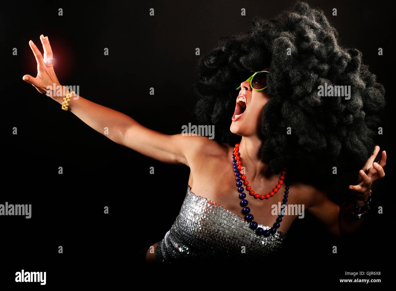 woman disco photo model - Stock Image