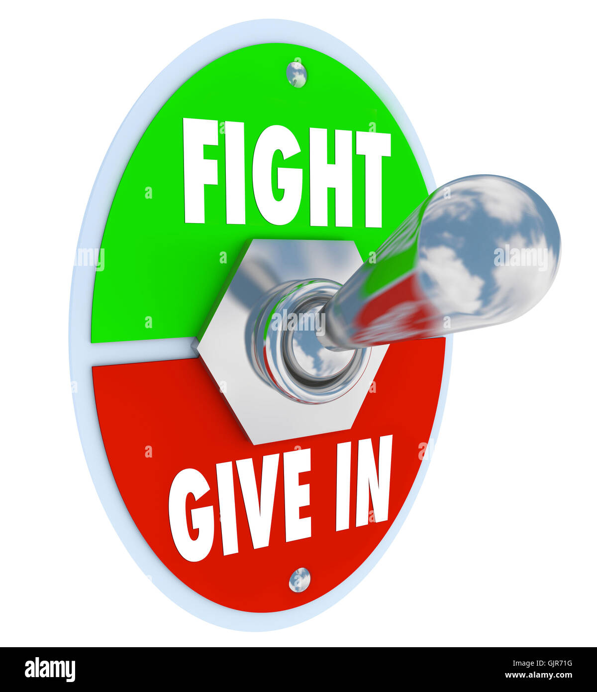 Fight Vs Give In - Flip the Switch to Take a Stand for Your Beli - Stock Image