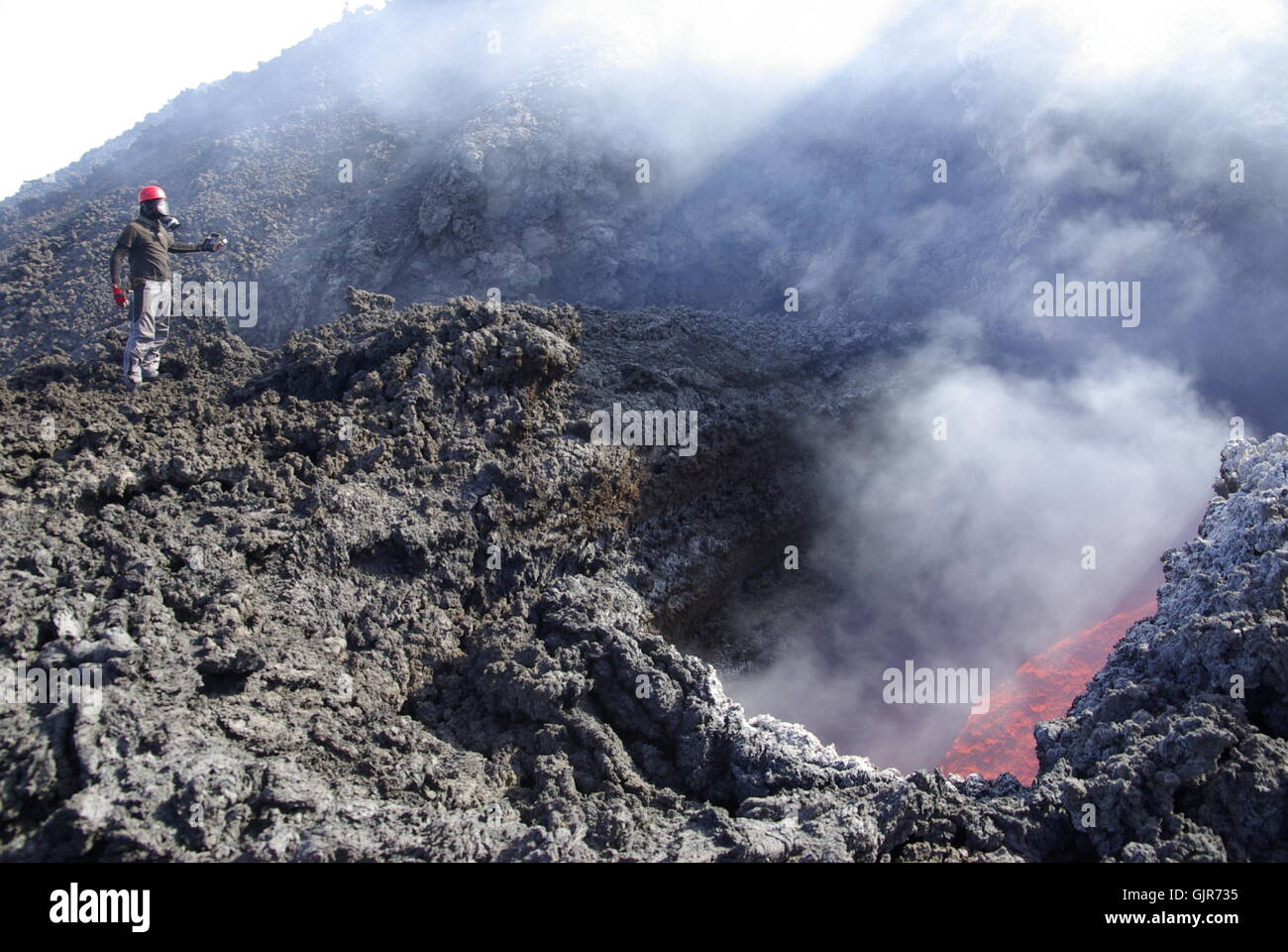 lava crater volcano etna - Stock Image