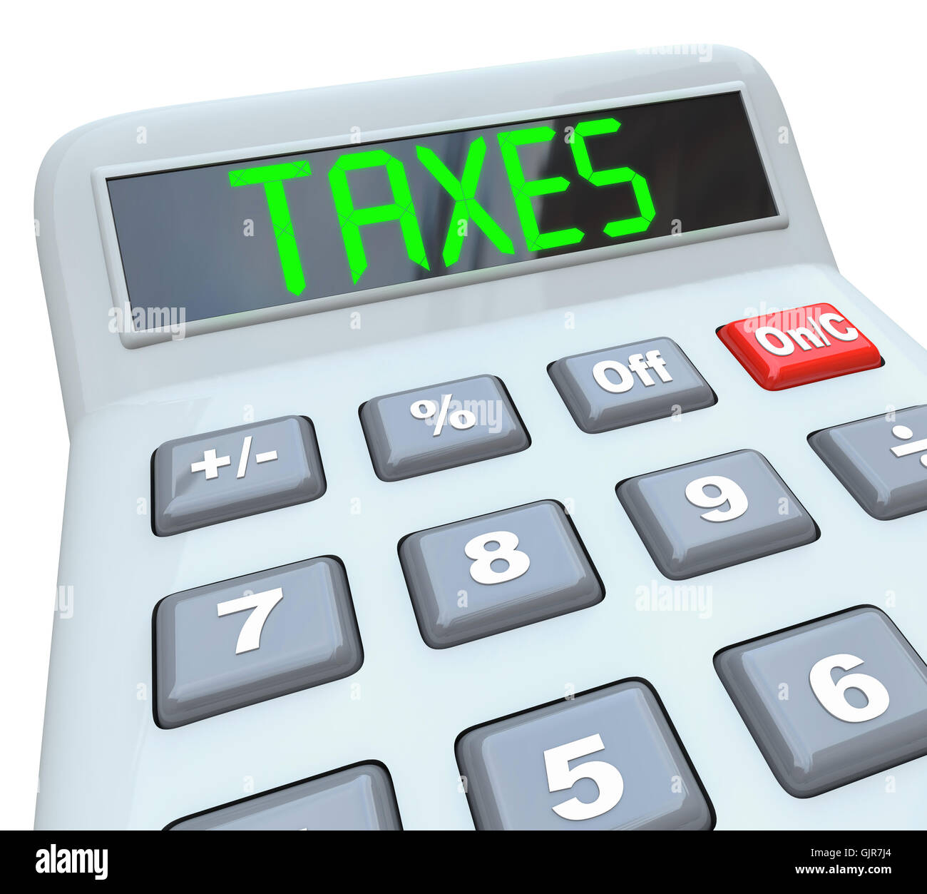 Taxes - Word on Calculator for Tax Accounting - Stock Image