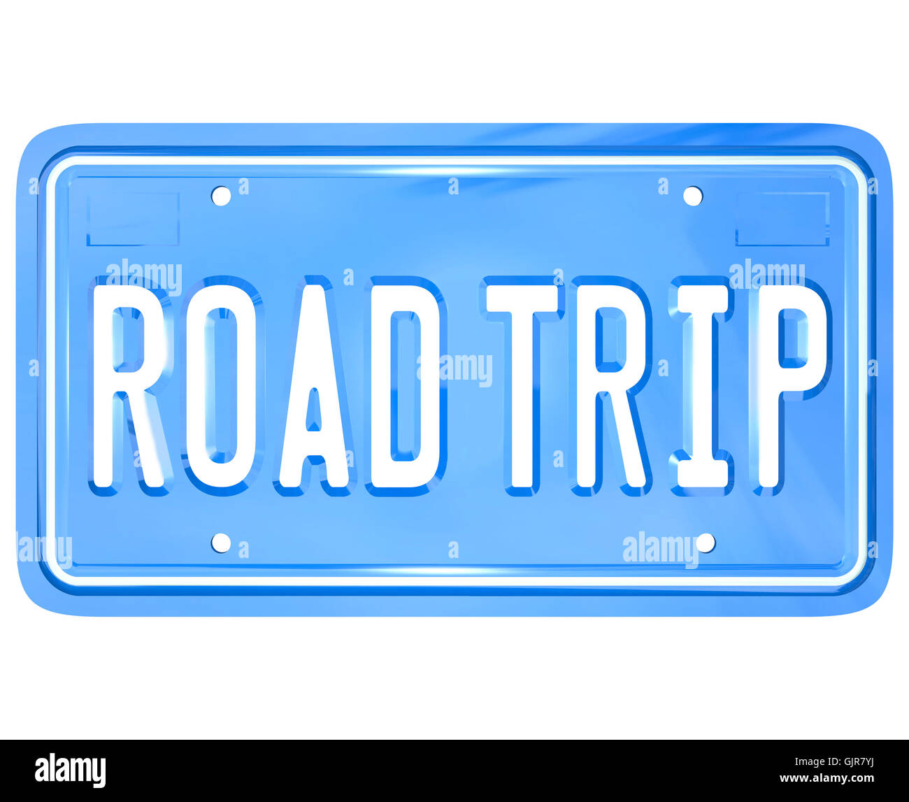 road trip words on vanity license plate holiday travel stock photo