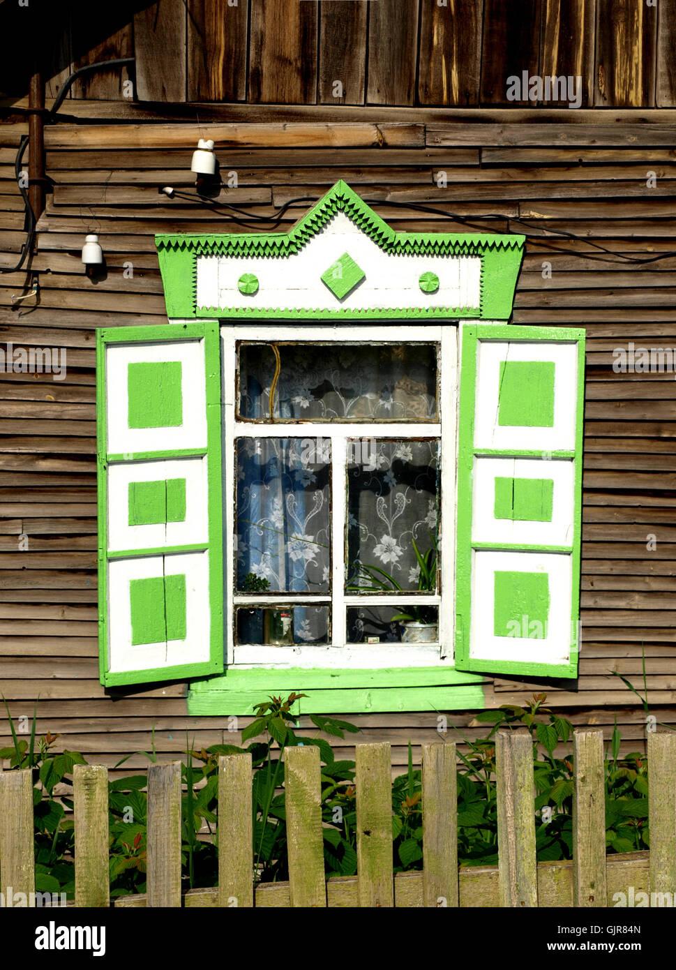 siberian wooden windows Stock Photo