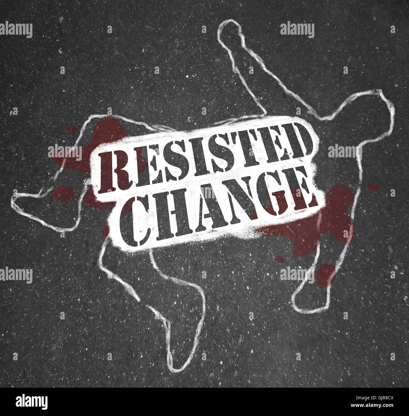 Resisting Change Leads to Obsolescence or Death - Stock Image