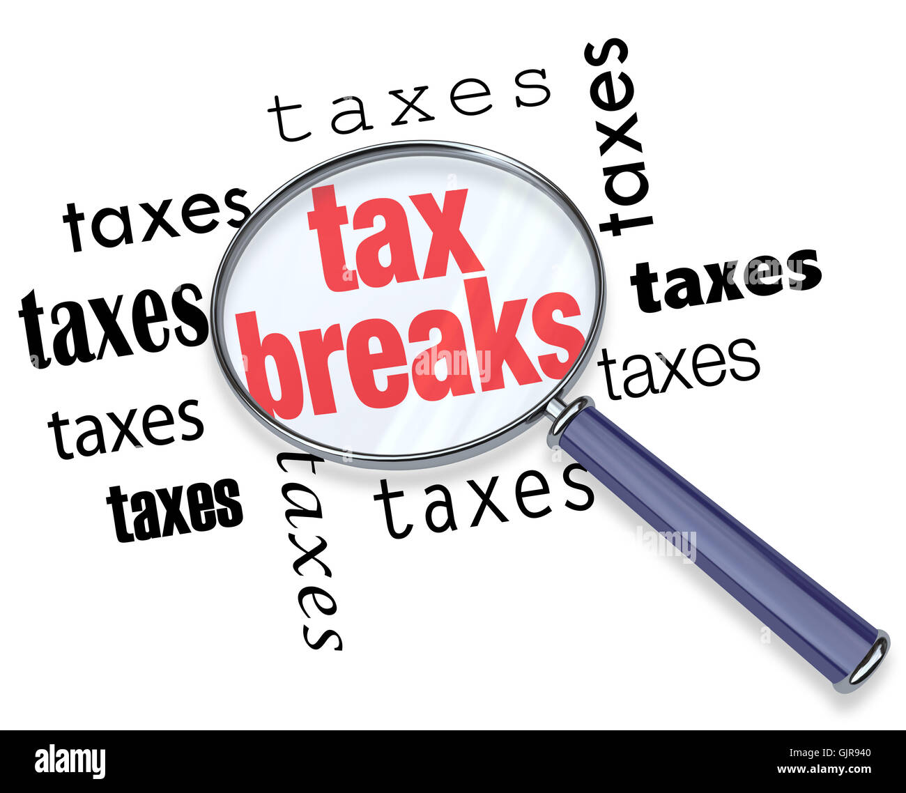 How to Find Tax Breaks - Magnifying Glass - Stock Image