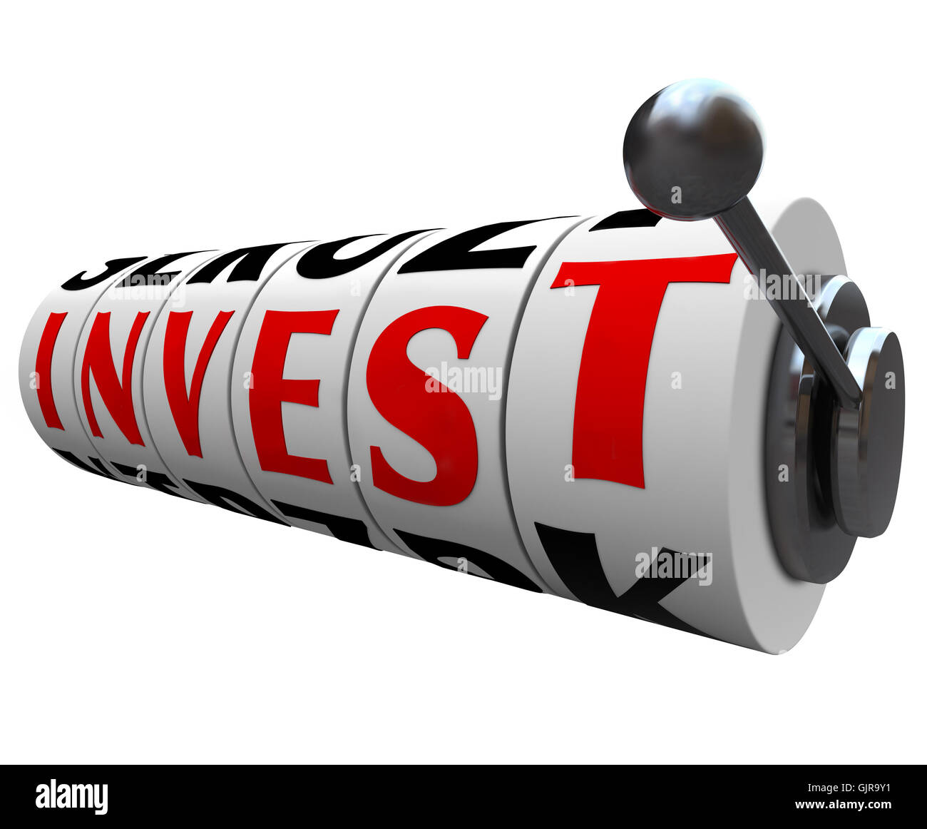 Invest Word Slot Machine Wheels - Risky Investment - Stock Image