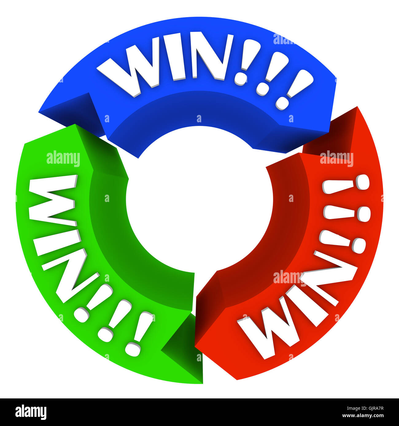 Win Circle with Words on Arrows - Lucky in Games and Life - Stock Image