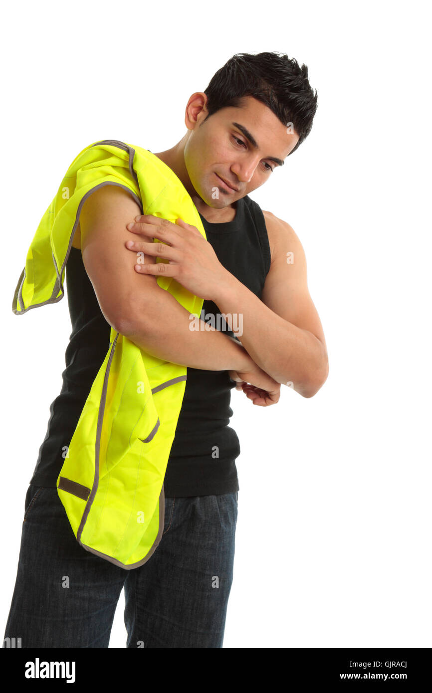 Building construction worker injury - Stock Image