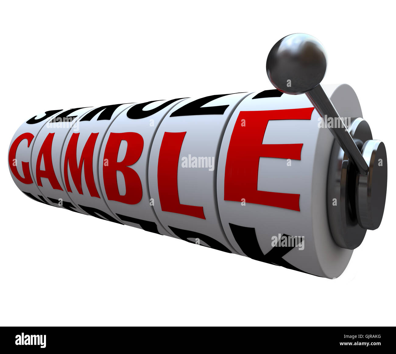 Gamble Word on Slot Machine Wheels - Stock Image