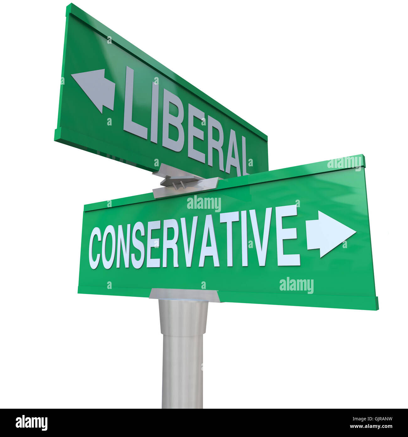 Liberal Versus Conservative Two Way Signs 2 Party System - Stock Image