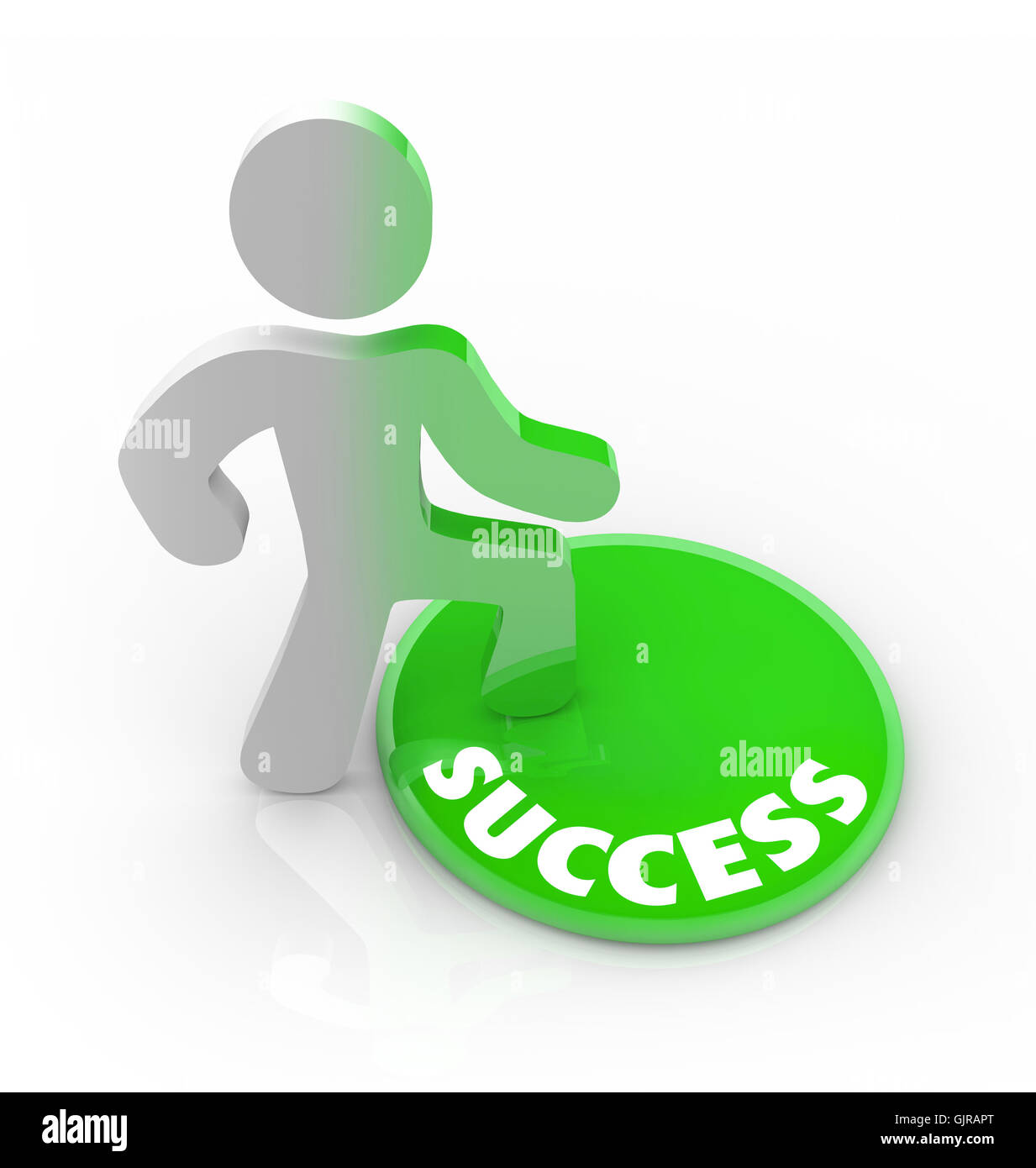 Success Changes a Person - Man Steps on Button - Stock Image