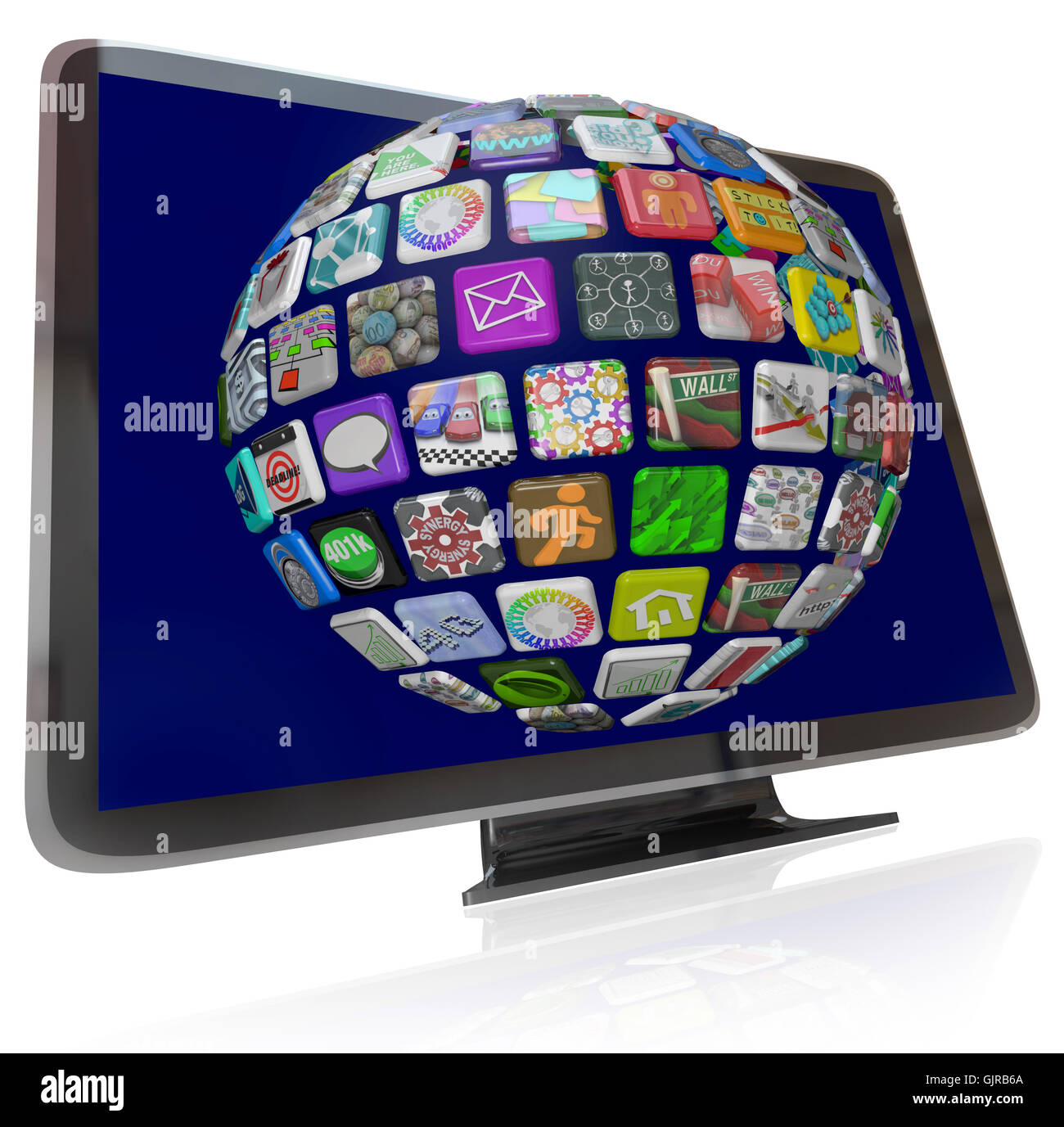Streaming Content Icons on HDTV Television Screens - Stock Image