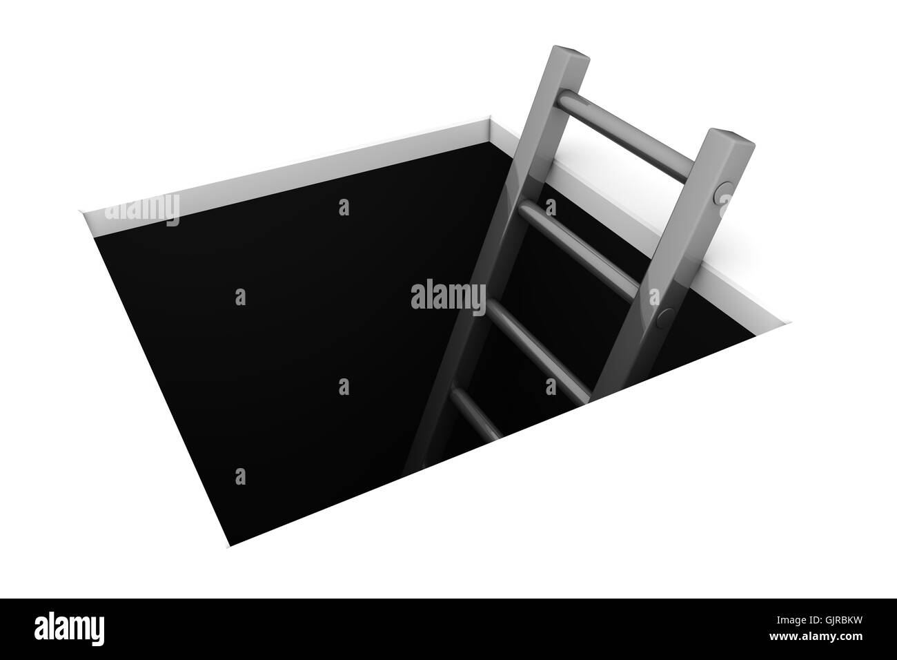 Climb out of the Hole - Shiny Grey Ladder - Stock Image