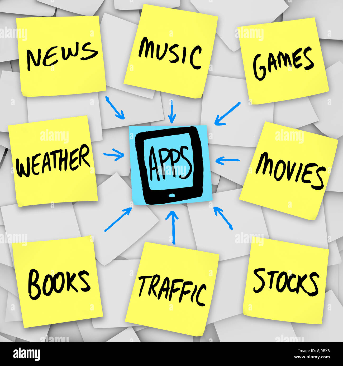 Apps Download into Smart Mobile Phone - Sticky Notes Stock