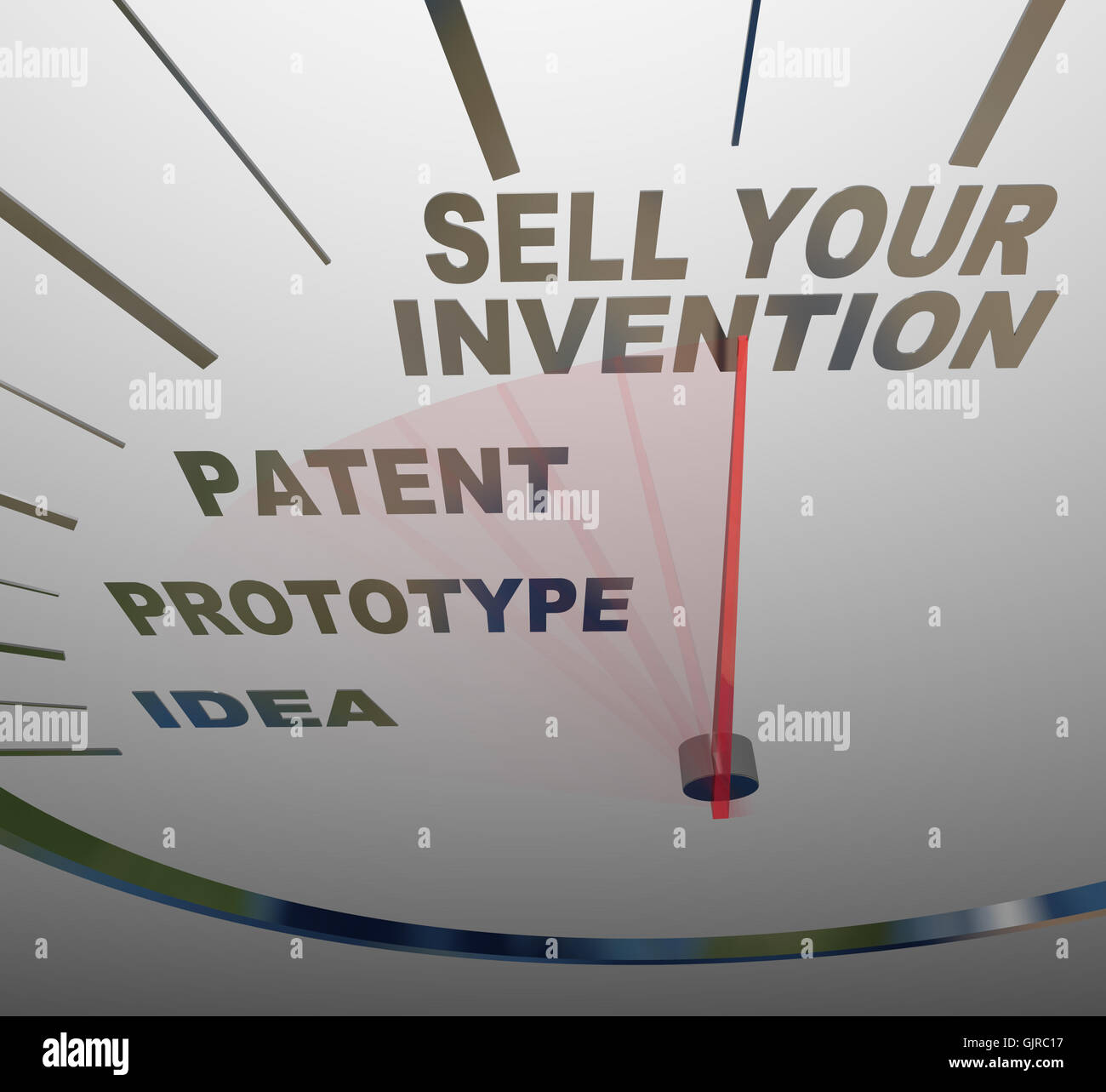 Sell Your Invention Words on Speedometer Steps for Inventing - Stock Image