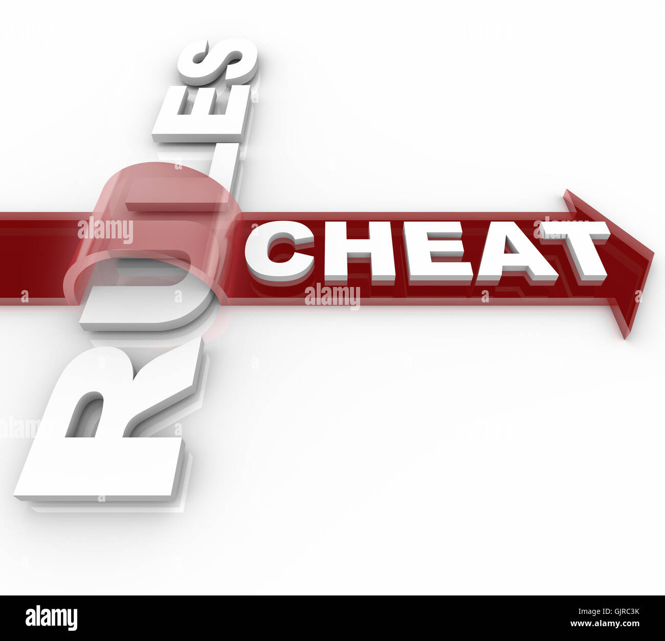 Cheating and Jumping Over the Rules - Word on Arrow - Stock Image