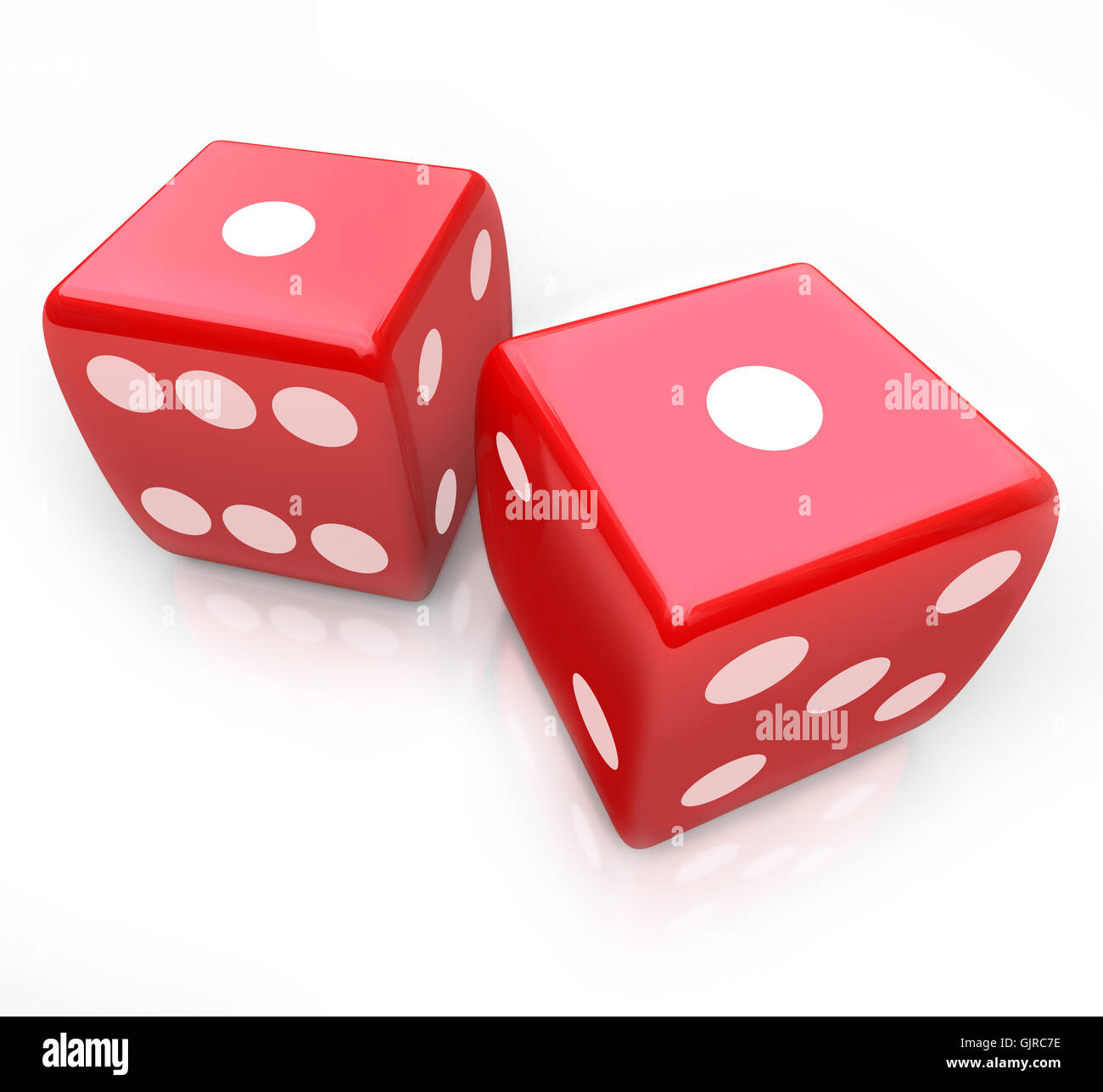 Roll the Dice - Snake Eyes in Gambling Game - Stock Image