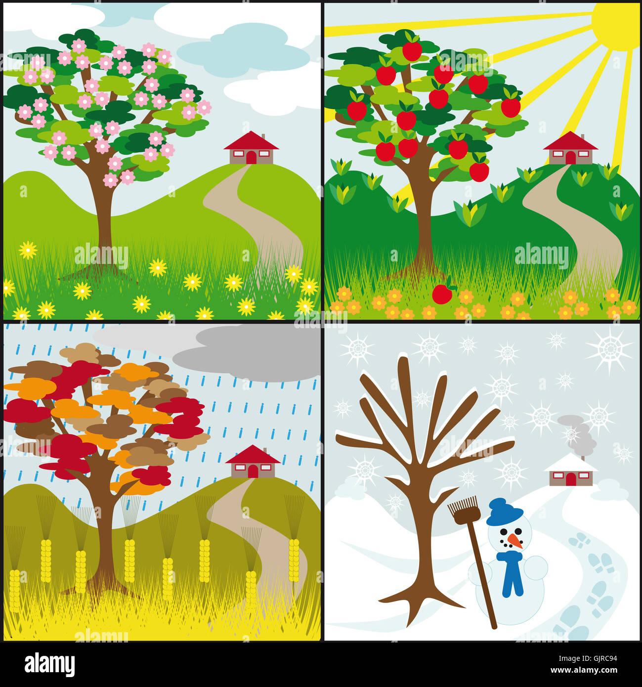 Apple Tree Spring Summer Autumn Winter Stock Photos ...