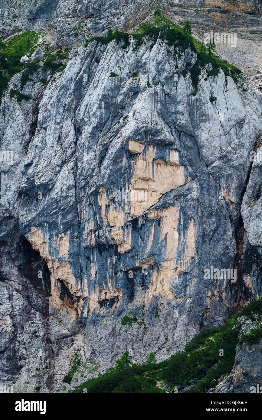 Pagan Girl rock formation near the mountain pass Vrsic in Slovenia - Stock Image