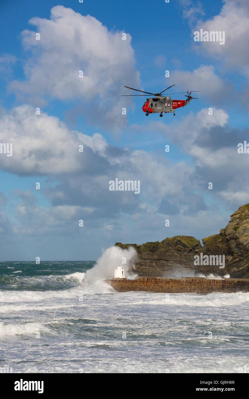 Portreath; Helicopter; Cornwall; UK - Stock Image