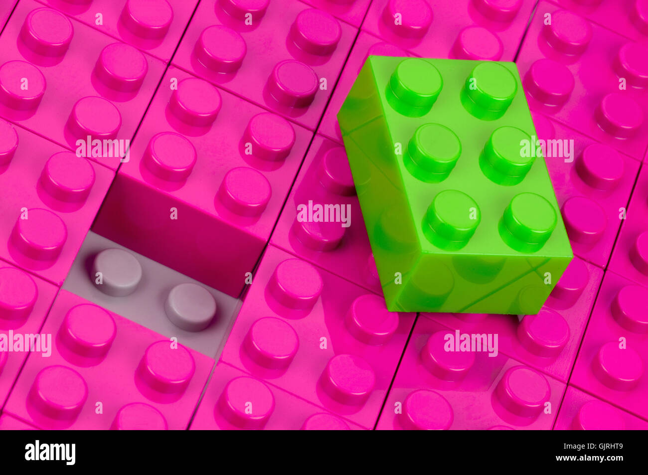 neon,non-matching blocks - Stock Image