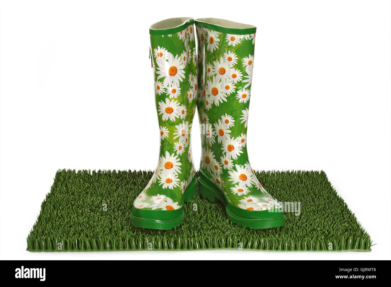 boot rubber boot flowered Stock Photo