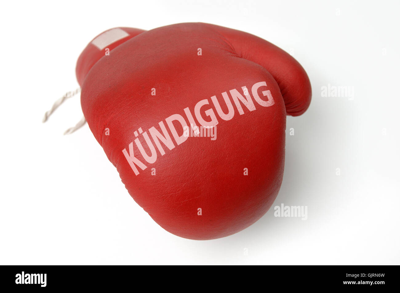red boxing glove unemployed - Stock Image