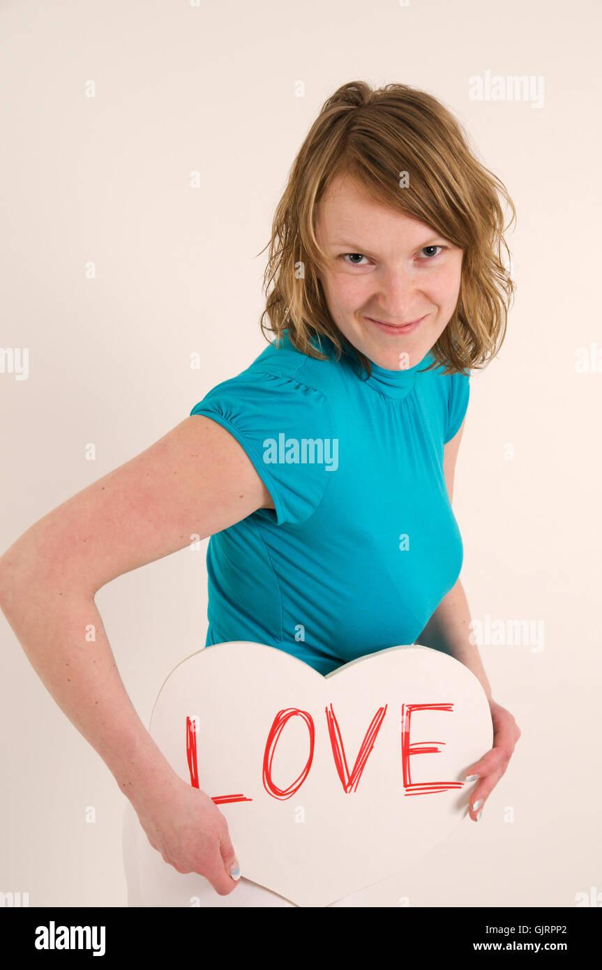 woman falling in love - Stock Image