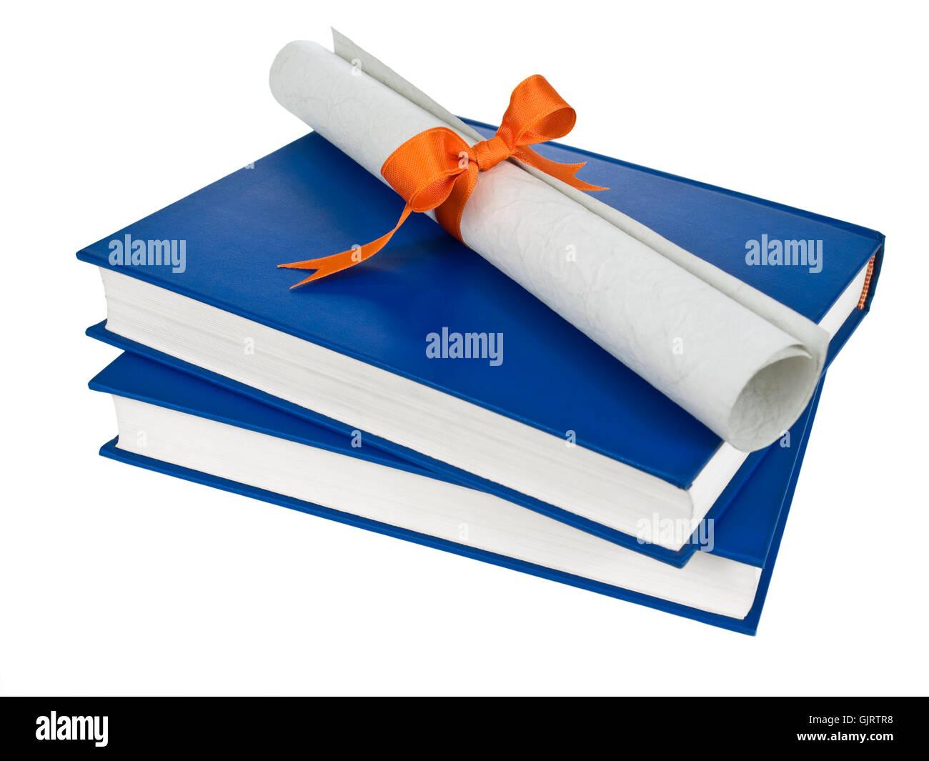 blue education books - Stock Image