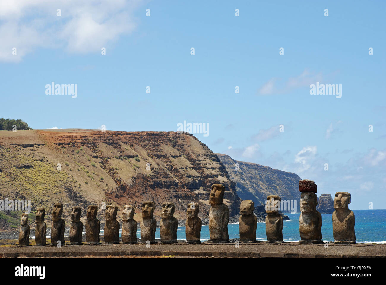 chile easter island famous - Stock Image