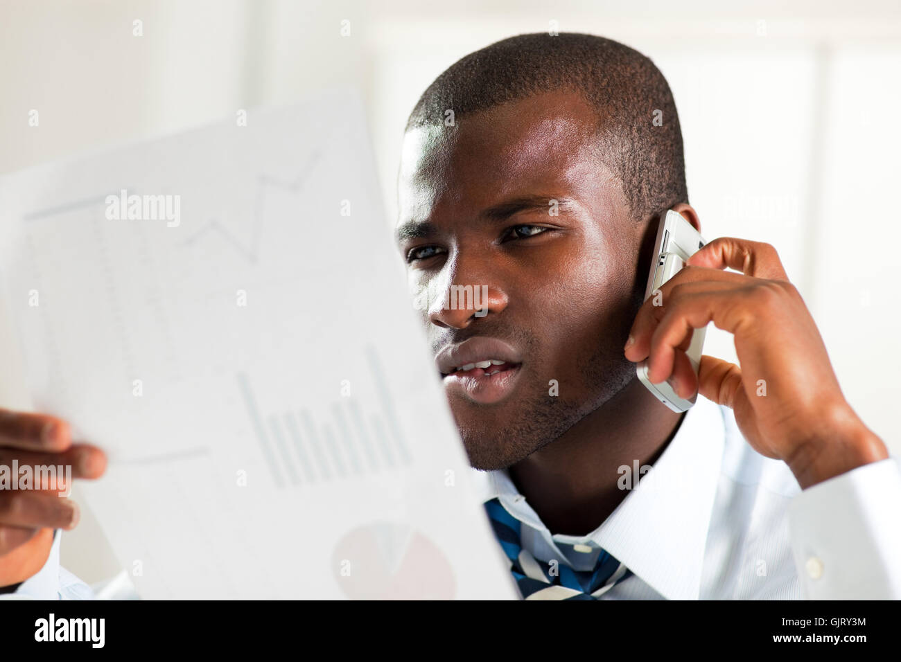 telephone phone business man - Stock Image
