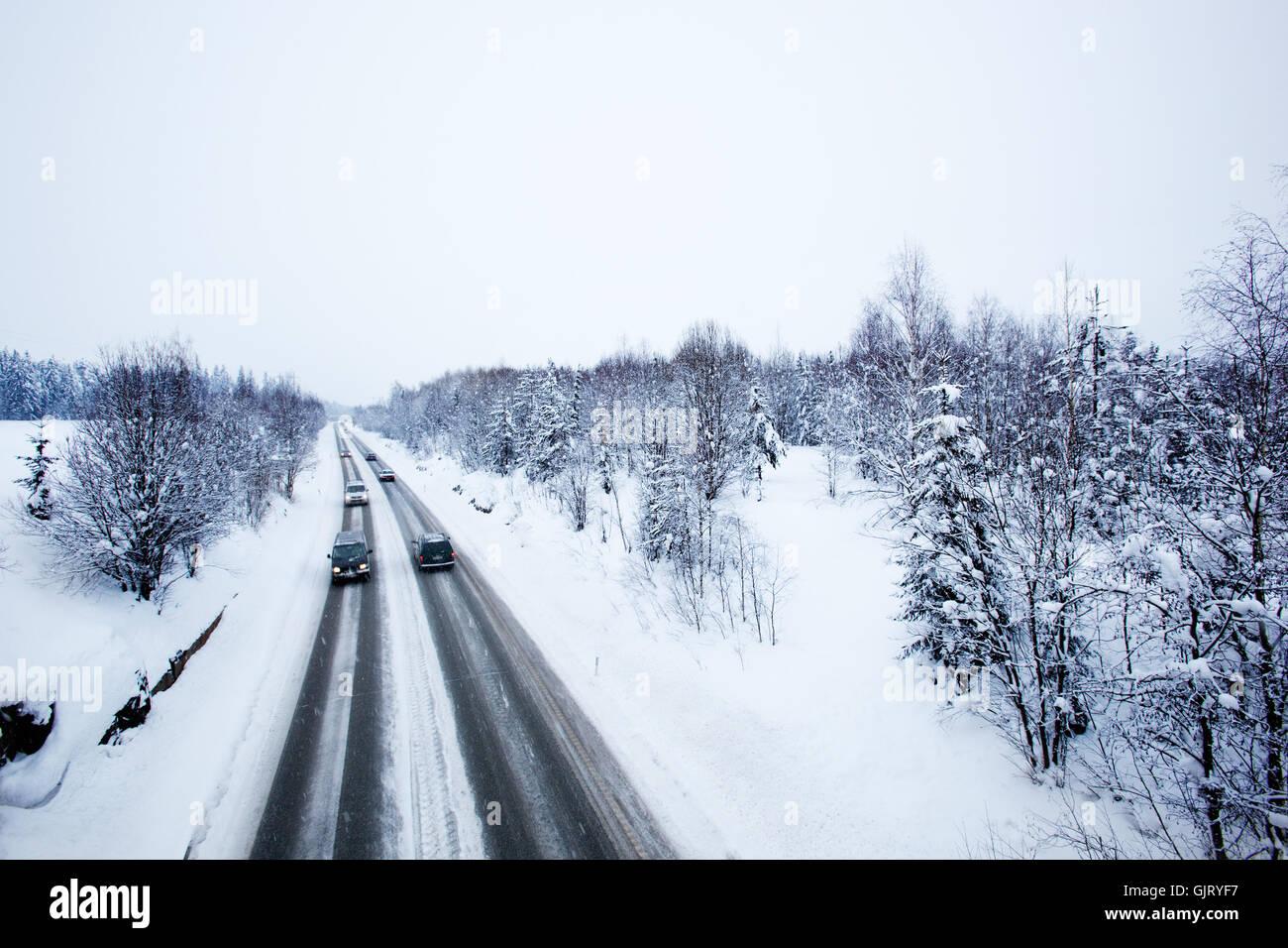 travel hazardous winter - Stock Image