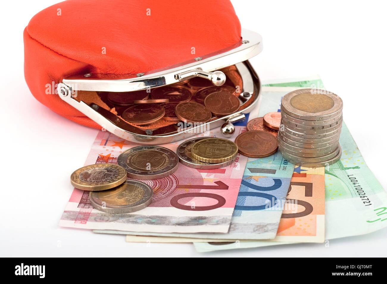 money euro with geldbosrse - Stock Image