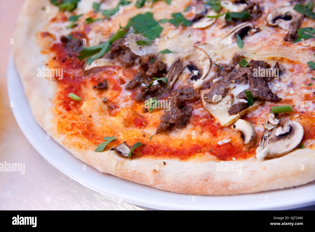 pizza with anchovies - Stock Image