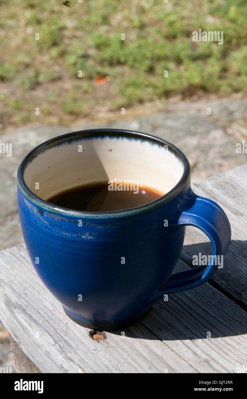 black coffee cup of cups strong caffeine mug mugs break breaks - Stock Image