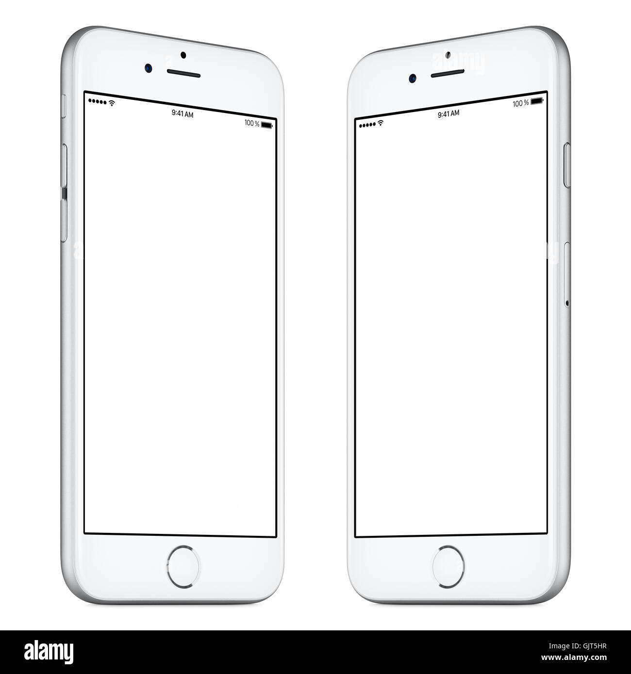 White mobile smart phone mockup slightly rotated both sides with blank screen isolated on white background. High Stock Photo