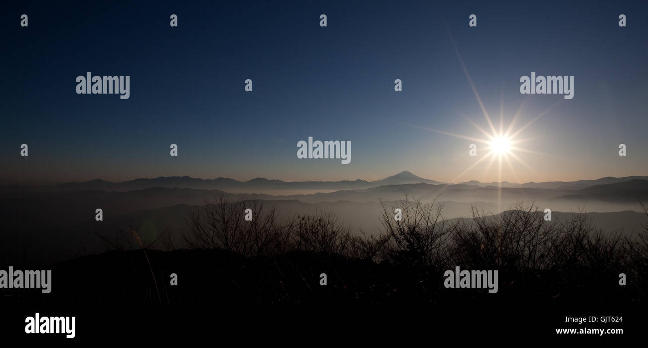 mountains asia sunset - Stock Image