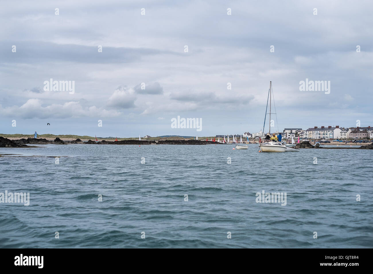 view from the sea of Boating Beach, Rhosneigr, Anglesey, Ynys Mon, North Wales, Gwynedd, UK - Stock Image
