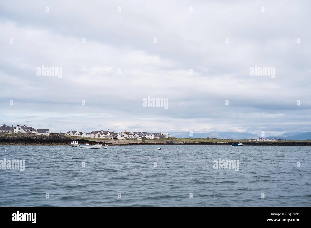 View from the sea of Broad Beach, Rhosneigr, Anglesey, Ynys Mon, North Wales Gwynedd, UK - Stock Image