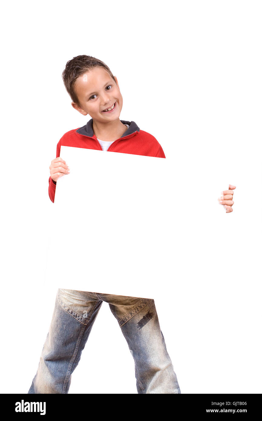 cheerful boy with a white sign - Stock Image