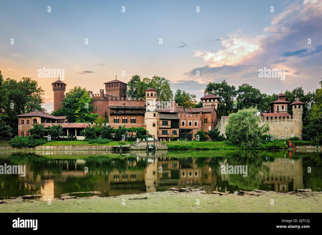 Turin (Torino) river Po and Borgo Medievale at sunset Stock Photo
