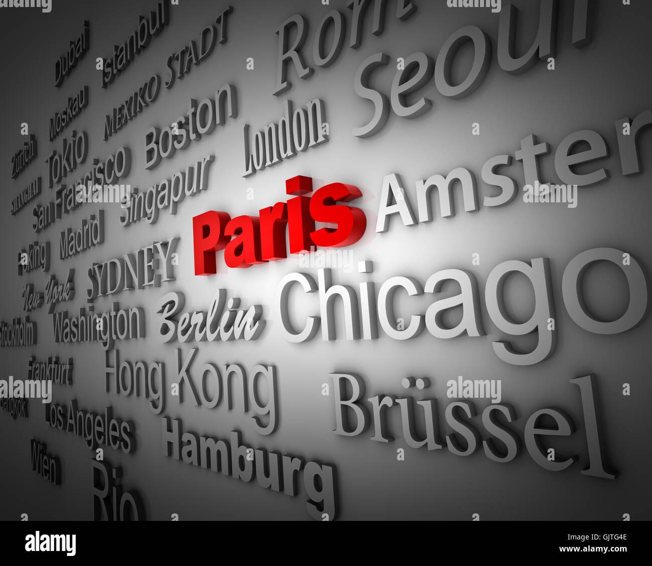 paris writing font - Stock Image