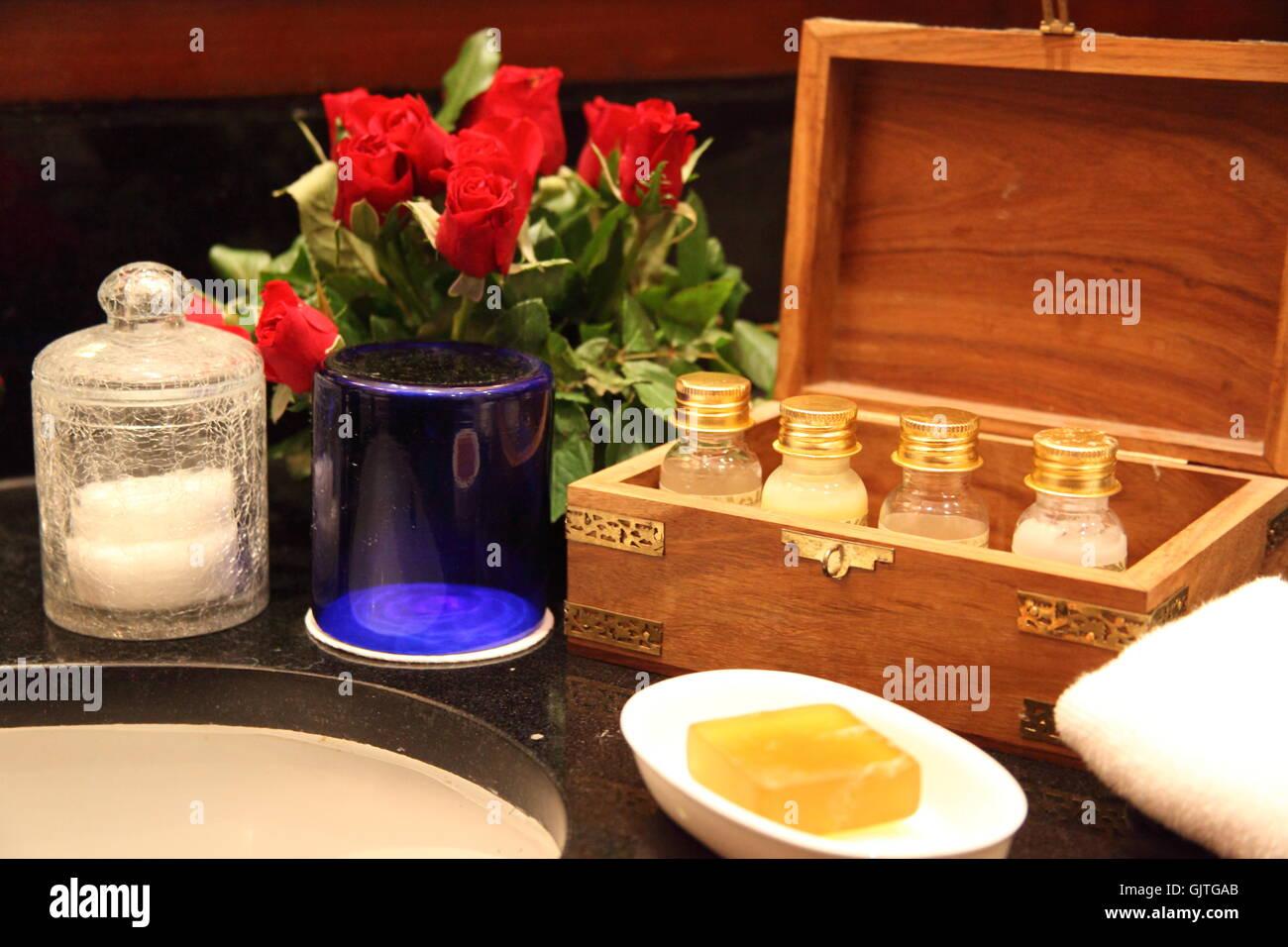 indoor photo hotel wash basin - Stock Image