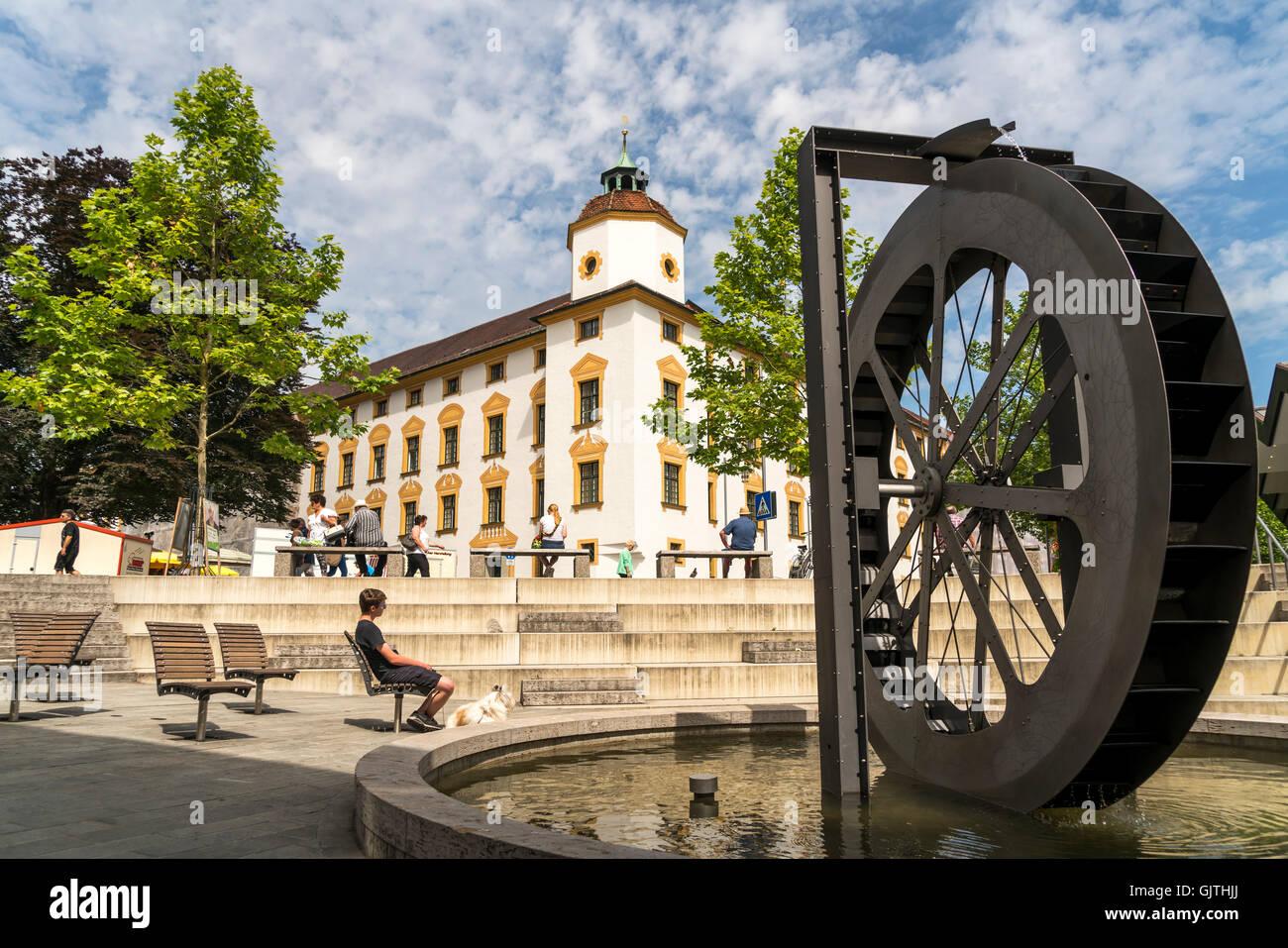 Water wheel and The Duke-Abbots' Residence in  Kempten, Allgäu, Bavaria, Germany - Stock Image