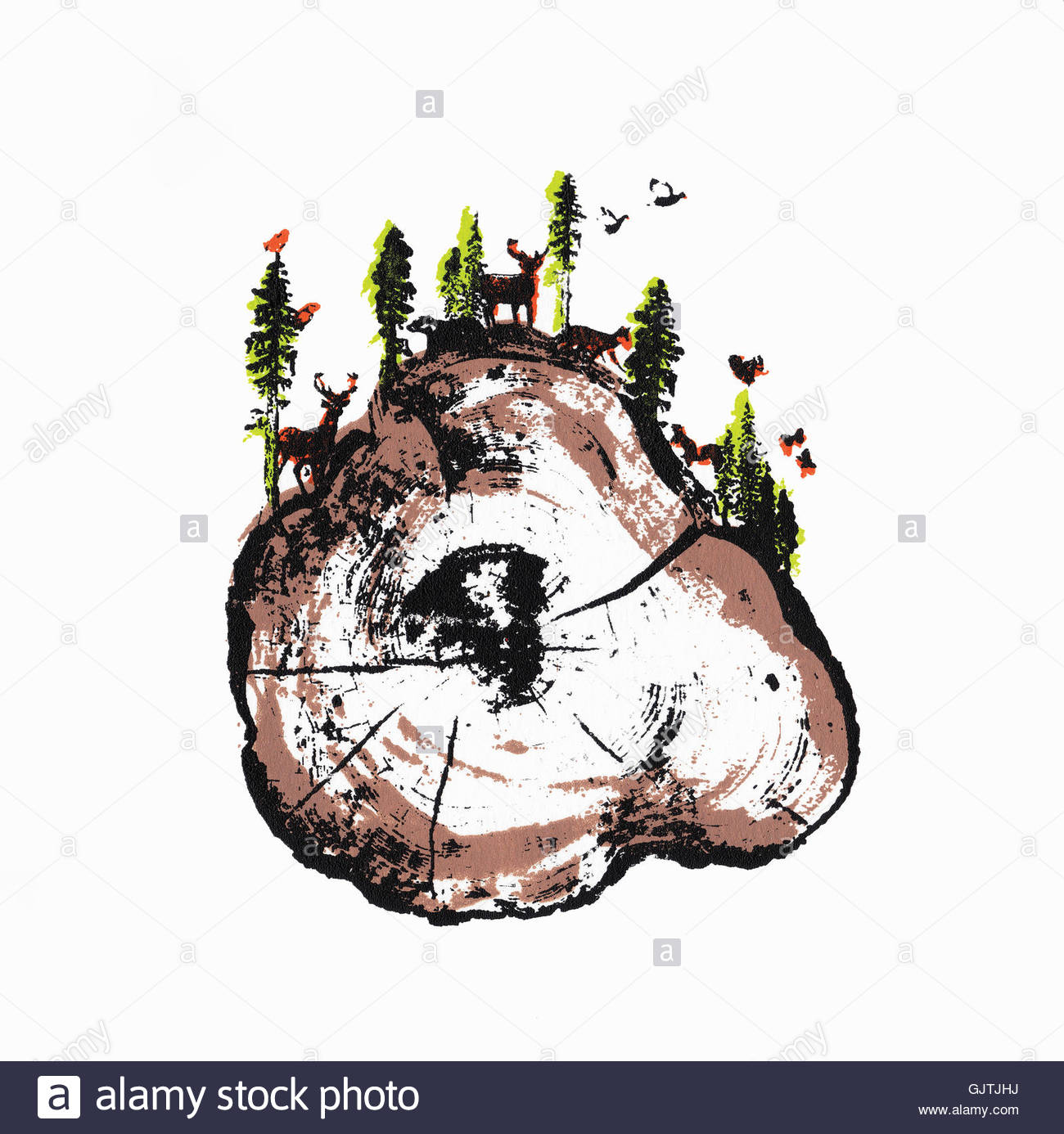 Woodland Animals On Top Of Cross Section Of Tree Trunk Stock