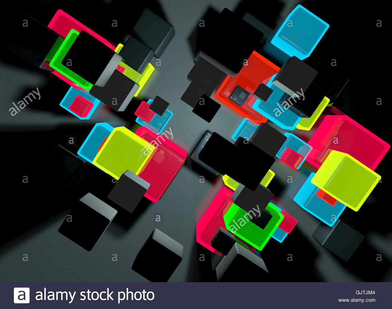 overhead view of stack of different glowing cubes stock photo