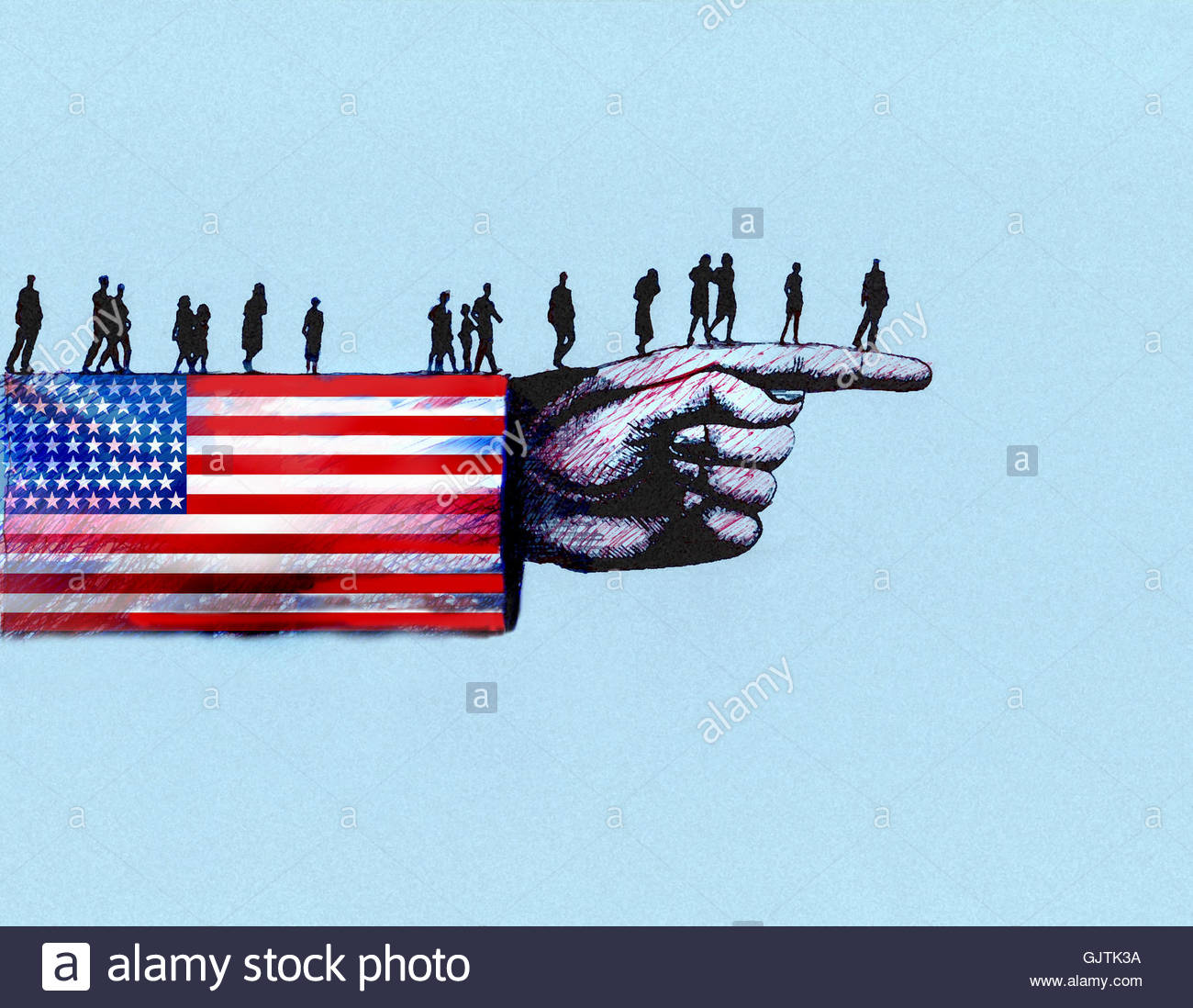 People walking along arm in United States Stars and Stripes flag in direction of pointing finger - Stock Image